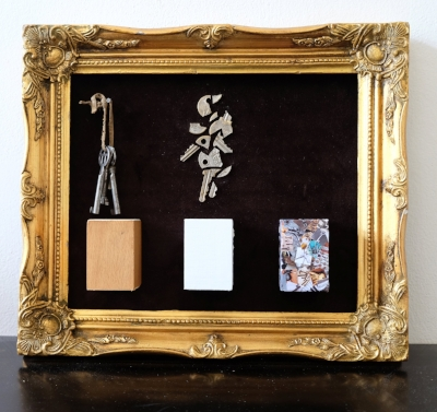 "Keys  (2016) (in Prague) 14.5 x 12.5 x 1.5"", found keys, digital print, wood, velvet (mixed media)"