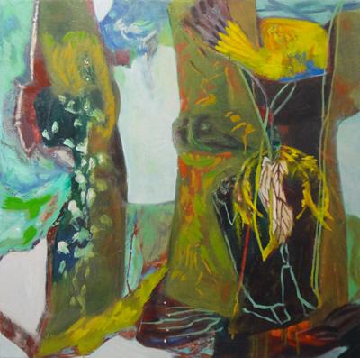 "Cathy Diamond,  Yellow Nest,  oil on canvas, 22 x 18"""", 2018"