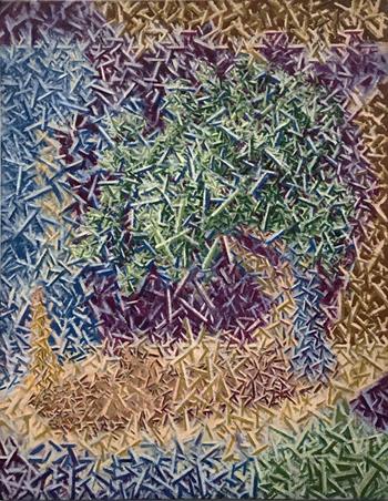"Sahand Tabatabai  The Valmont Cottonwood with Balanced #2 Pencil,  oil on linen, 36 x 28"", 2018"