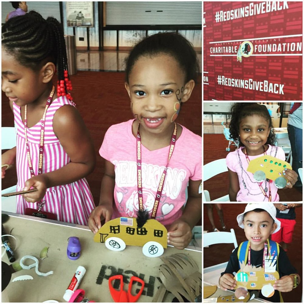 BIG fun today at #FedExField for the #RedskinsCommunity Back-to-School event for the kiddos! Free dental exams, haircuts, school supplies, back packs -- and of course, #art classes!! @redskinsgiveback + Capitol Hill Arts Workshop = a beautiful day of art & giving! #dc Washington Redskins — at FedEx Field - Washington Redskins. 8/13/16