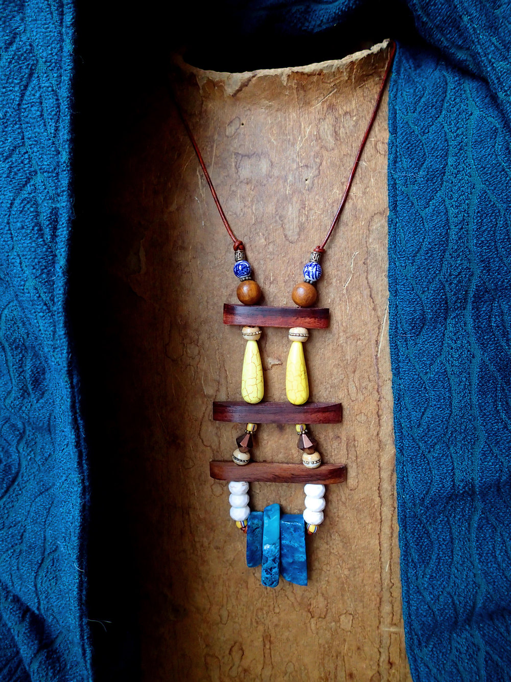 SOLD  4) $95 stone, organic wood, glass & vintage beads on distressed leather. $4 shipping, arrives in a gift box. email me with questions or for a paypal invoice:  cherielester@gmail.com