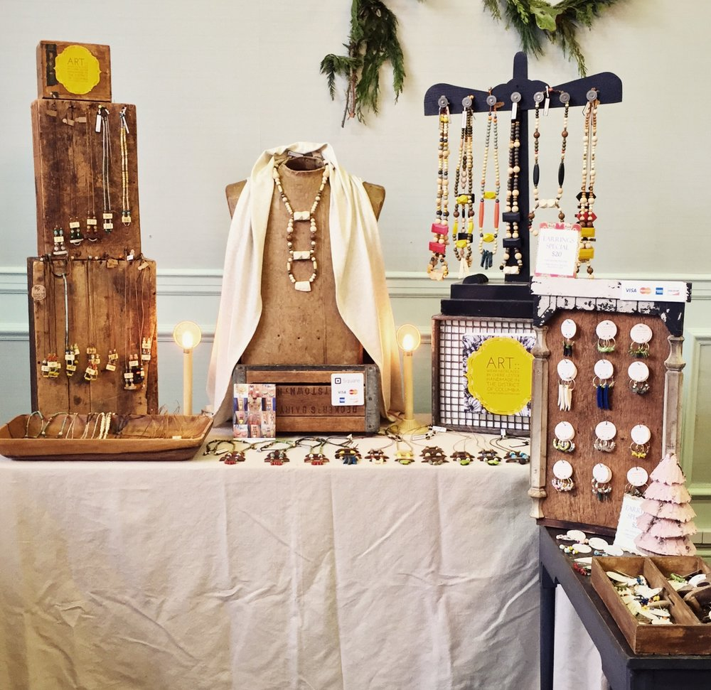 My jewelry display at this December's Made In DC holiday show in Van Ness DC.