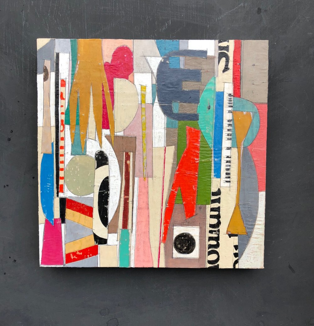 "AVAILABLE. $220. Created Dec 2018, 12"" x 12"", Painting on top of mixed media collage. On cradled hardwood. Wax finish."