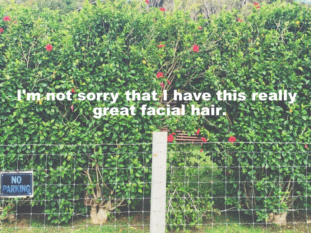 "Nino December 28 2015 Image of a large flowering hedge with a wire fence in front of it. ""I'm not sorry that I have this really great facial hair"" is overlaid."