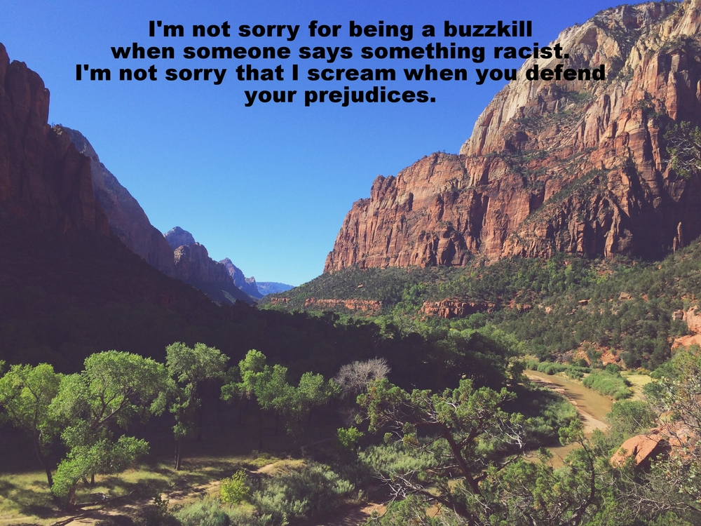 "Sam January 25 2016 Red clay colored mountains on two sides of the photo frame green trees in the valley. ""I'm not sorry for being a buzzkill when someone says something racist. I'm not sorry that I scream when you defend your prejudices""  is overlaid onto the bright blue sky."