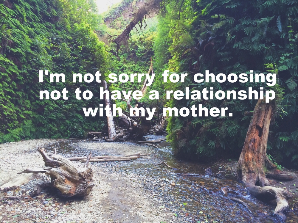"Al January 26 2016 Image of a canyon with green ferns and trees. ""I'm not sorry for choosing not to have a relationship with my mother"" is overlaid."