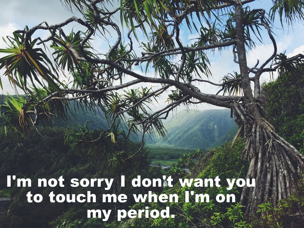 "Anonymous February 11 2016 Image of a large tropical tree in the foreground. Far behind the tree is a lush, green canyon. In the valley of the canyon, far below, the are more trees and bright grass and a small river. ""I'm not sorry I don't want you to touch me when I'm on my period"" is overlaid."