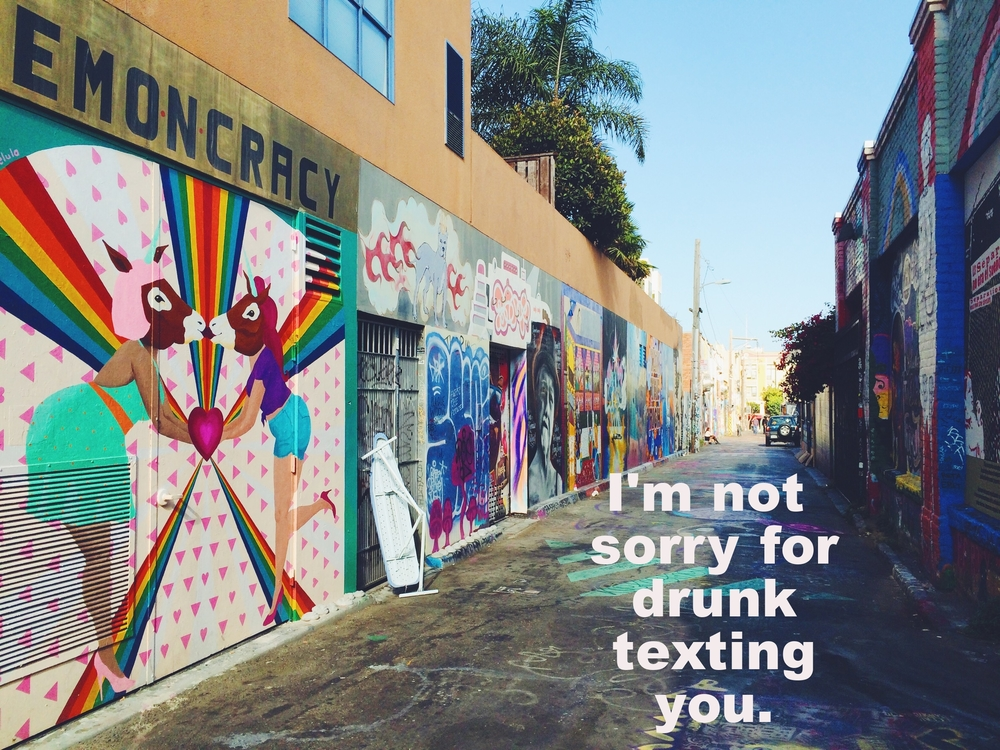 "Anonymous February 16 2016. Image of a wide alley. The walls on both sides of the alley are covered in street art. In the foreground is a mural of two bodies with human bodies and horse heads kissing, on a white background with pink triangles and rainbows. ""I'm not sorry for drunk texting you"" is overlaid."