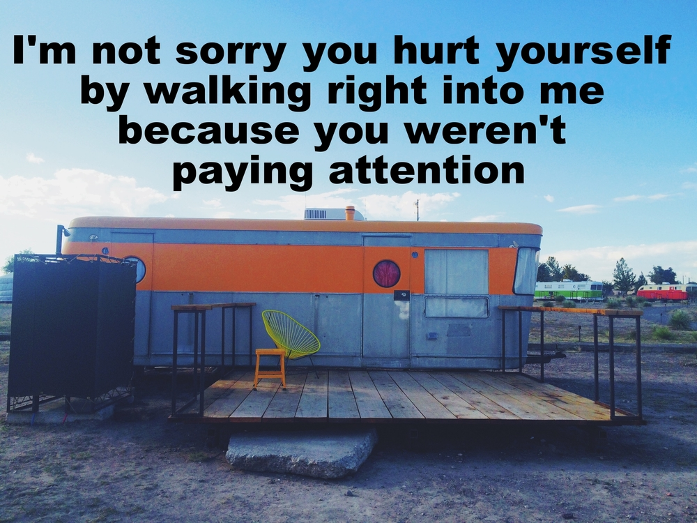 "Kale February 12 2016 Image of renovated aluminum trailer. There is a large orange stripe around the body of the trailer. In the foreground is a wide wooden patio with yellow chair and an orange stool on it. In the background are a few other colorful trailers. ""I'm not sorry you hurt yourself by walking right into me because you weren't paying attention"" is overlaid."