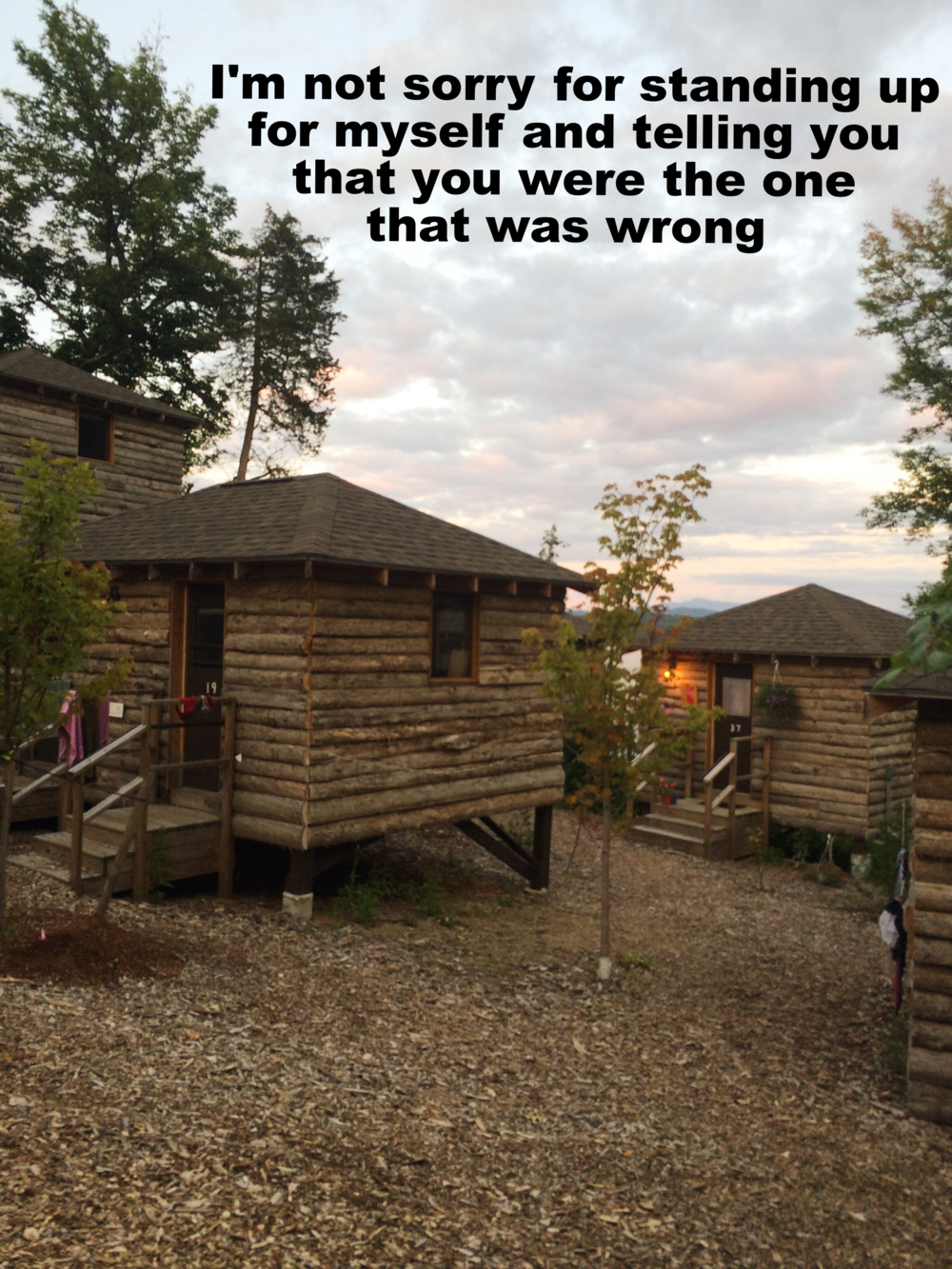 "Anonymous March 3 2016 Image of small log cabins at twilight. An orange light shines from the porch of the cabin in back and there are soft violet-gray clouds in the sky. ""I'm not sorry for standing up for myself and telling you that you were the one that was wrong"" is overlaid."