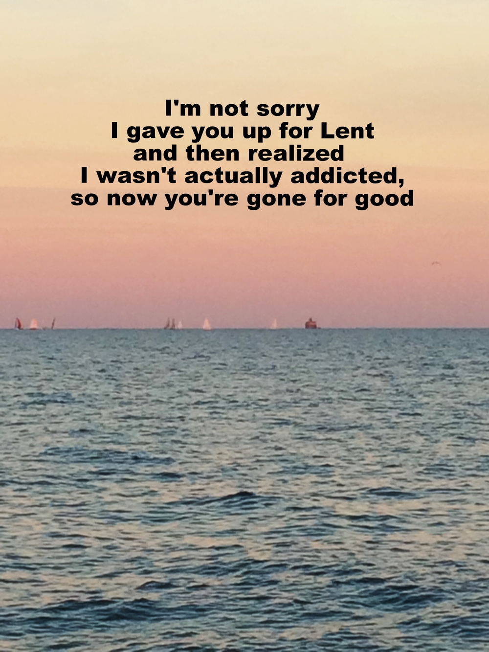 "Anonymous March 2 2016 Image of a peaceful lake with several sailboats in the distance at sundown. The sky has gradations of violet, pink, and orange.  ""I'm not sorry I gave you up for Lent and then realized I wasn't actually addicted, so now you're gone for good"" is overlaid."
