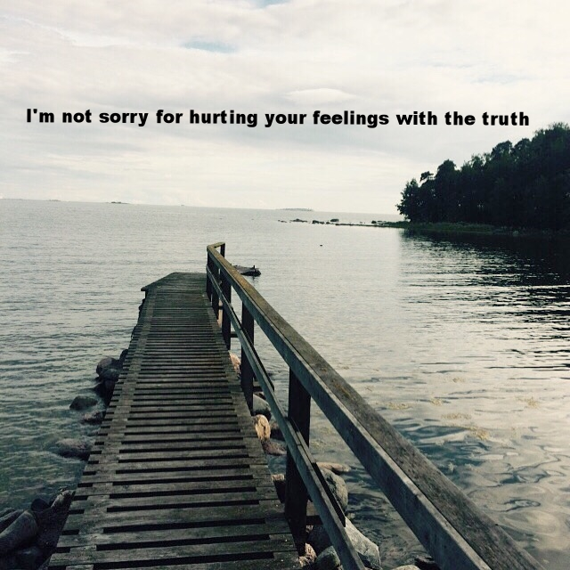 "Veronica March 3 2016 Image of a long wooden dock with a railing leading out to a grey-blue bay. ""I'm not sorry for hurting your feelings with the truth"" is overlaid."