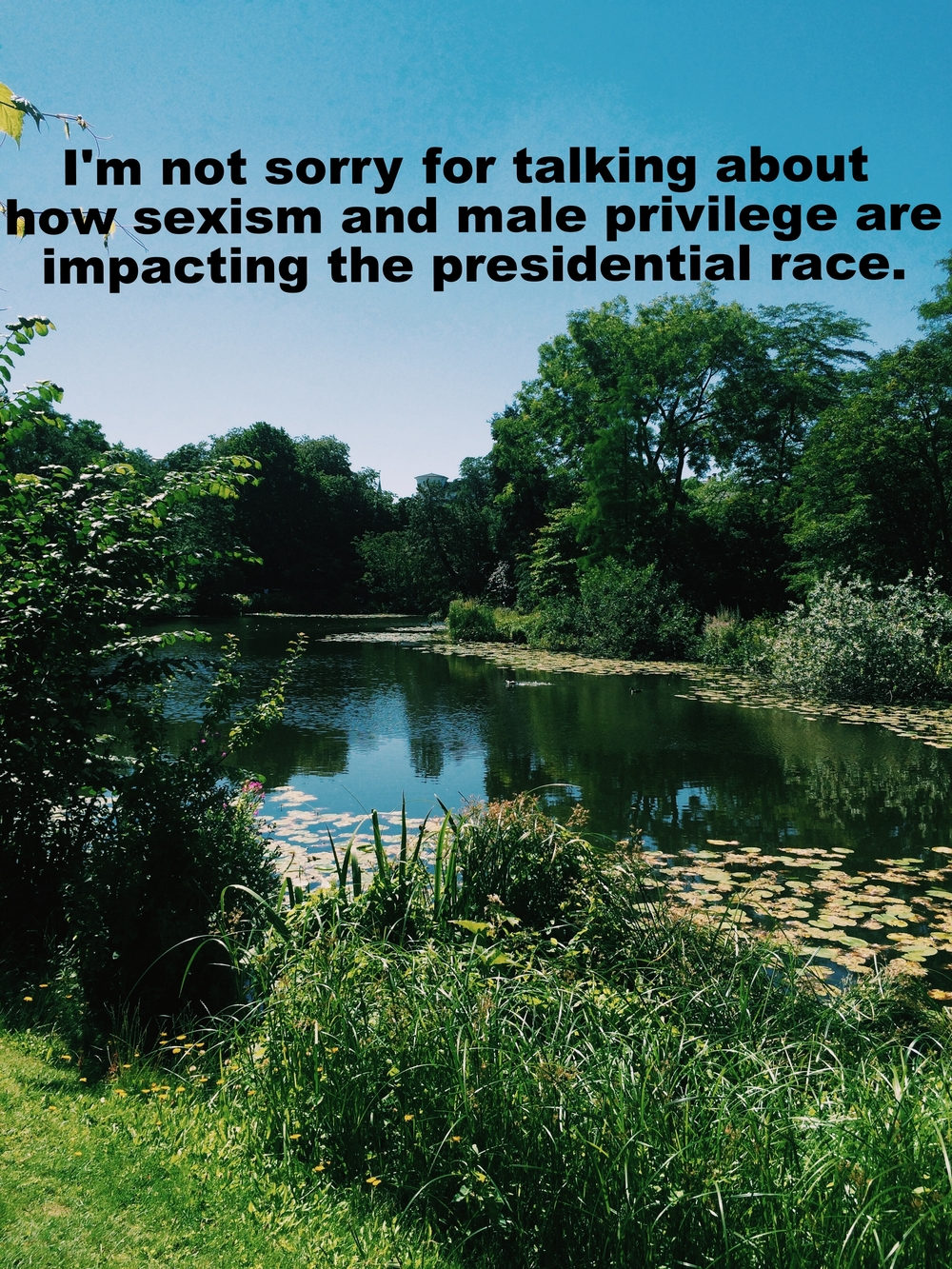 "Meghan March 4 2016 Image of a still pond with lillypads in it and green grass and trees surrounding it. ""I'm not sorry for talking about how sexism and male privilege are impacting the presidential race"" is overlaid."