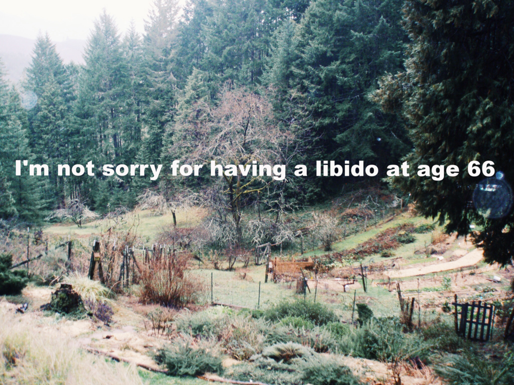 "Paks March 6 2016 Image of a garden on a hill in autumn. Garden beds with green plants are at all levels of the hill and evergreen trees surround it. Deciduous trees have lost their leaves.   ""I'm not sorry for having a libido at age 66"" is overlaid."