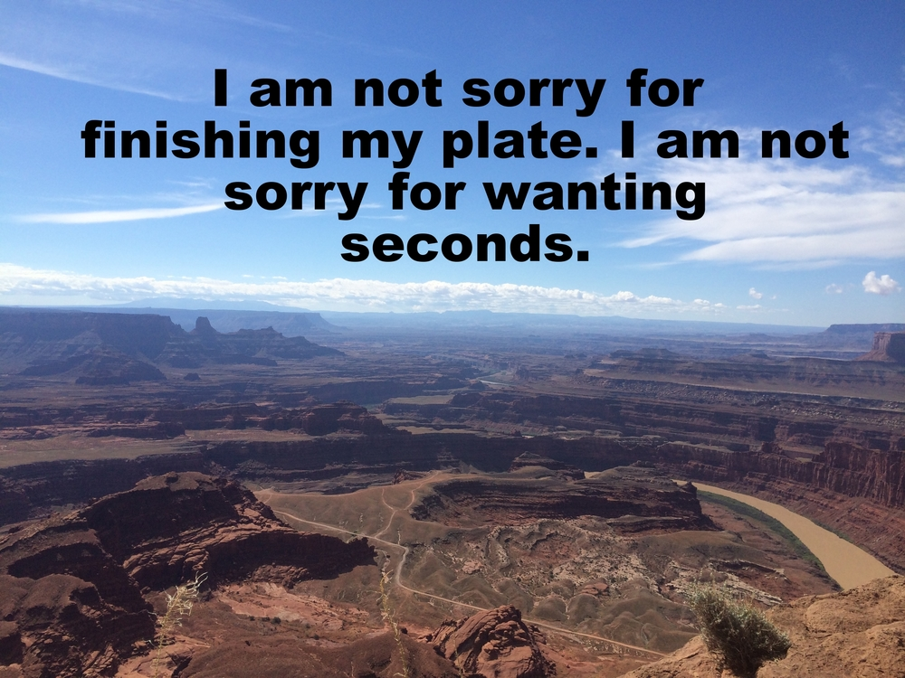 "Anonymous March 9 2016 Image of a vast canyon viewed from above. Other canyons and jutting rock formations stretch into the distance, and clouds dot the blue sky along the horizon. ""I am not sorry for finishing my plate. I am not sorry for wanting seconds"" is overlaid."