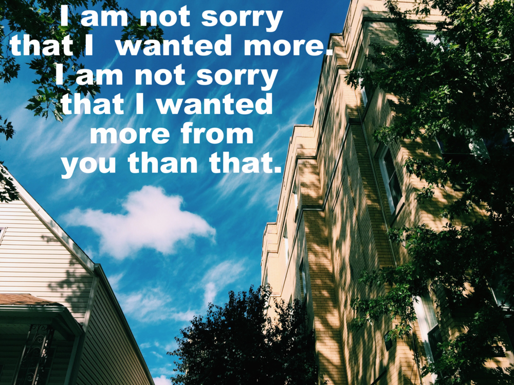 "Anonymous March 12 2016. Image, shot from below, of a three-story yellow brick apartment building. The sky is bright blue and sun and shadow dapple the building. ""I am not sorry that I wanted more. I am not sorry that I wanted more from you than that"" is overlaid."