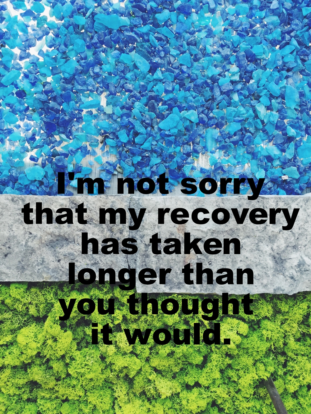 "Anonymous March 22 2016 Image of many small bright blue rocks and bright green moss, separated by a flat grey, rectangular stone. ""I'm not sorry that my recovery has taken longer than you thought it would"" is overlaid."