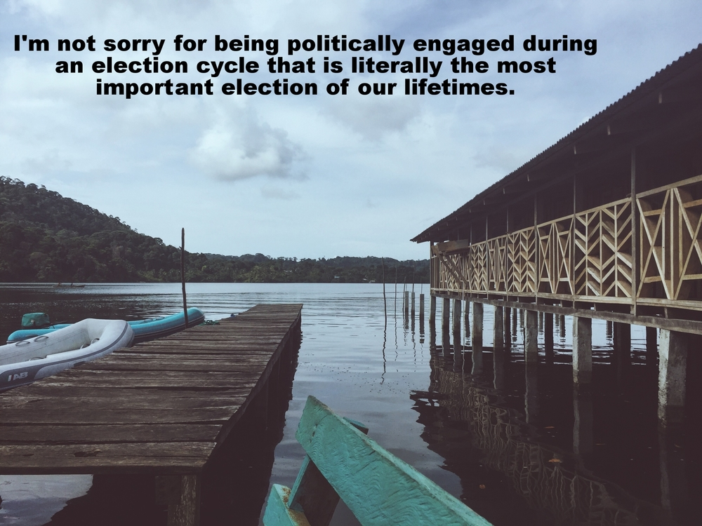 "Anonymous March 28 2016 Image of a narrow wooden dock extending out into a bay. To the right of the image the porch of a low building is visible. The railing of the porch is made up of intricate wooden designs. Two small dinghies are tied to the dock. ""I'm not sorry for being politically engaged during an election cycle that is literally the most important election of our lifetimes"" is overlaid."