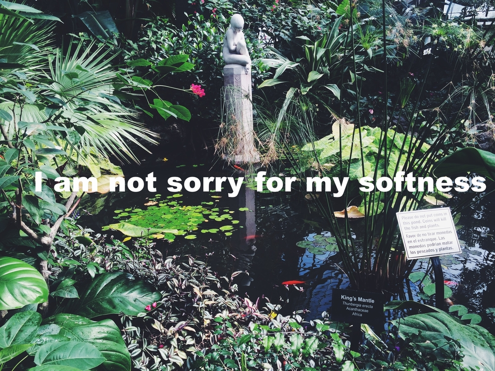 "Sara April 12 2016 Image of a pond with lily pads and a variety of plants and flowers surrounding it. A stone statue of a body sitting contemplatively emerges from the middle of the pond. ""I am not sorry for my softness"" is overlaid."