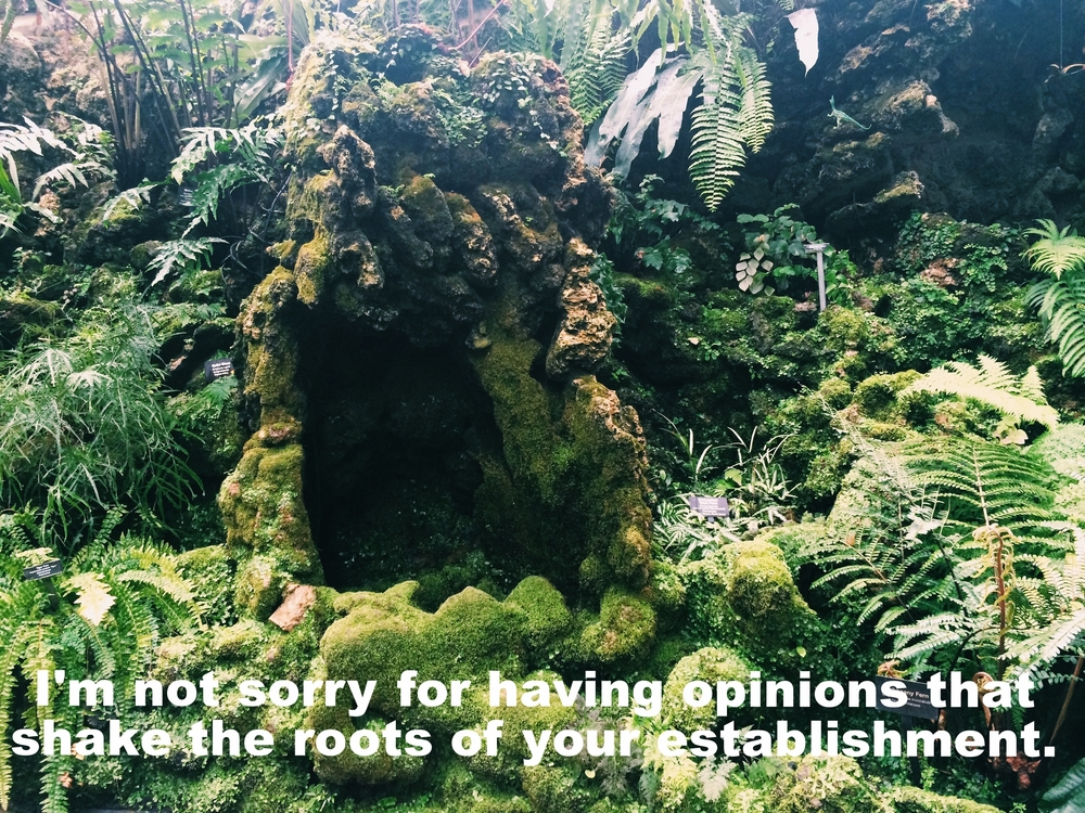 "Anonymous April 26 2016 Image of a densely fern-ed and mossy area. Many shades of green and shapes of leaves overlap and surround a small mossy cave-like formation.  ""I'm not sorry for having opinions that shake the roots of your establishment"" is overlaid."
