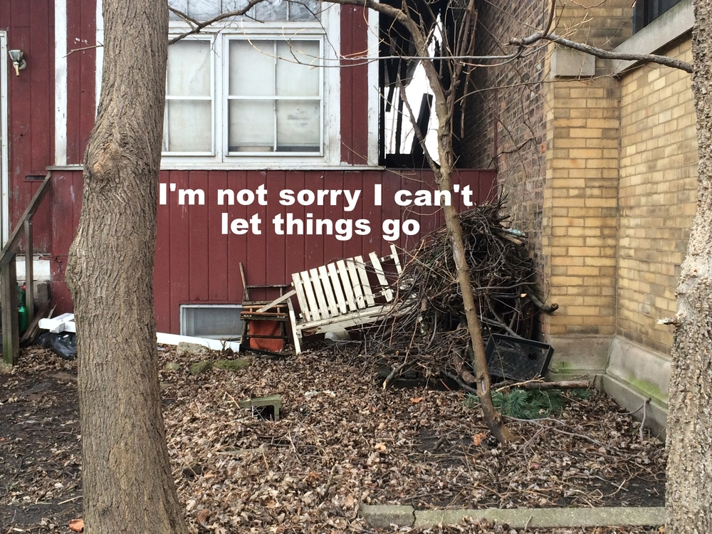 "Anonymous April 27 2016 Image of the front of a red house. A broken white wooden bench is discarded among a tall pile of sticks and logs in the right side of the image. The ground is a blanket of dead leaves. ""I'm not sorry I can't let things go"" is overlaid."