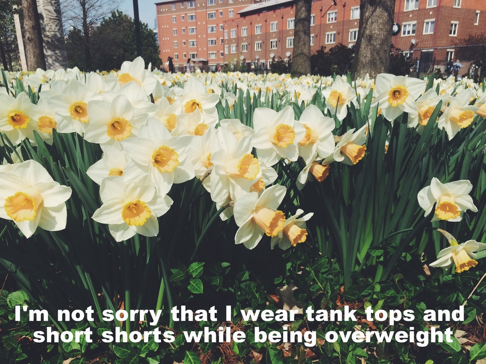 "Sarah April 26 2016 Image of a field of daffodils, the front row of which are showing their bright spring faces. There's a red brick building in the background. ""I'm not sorry that I wear tank tops and short shorts while being overweight"" is overlaid."