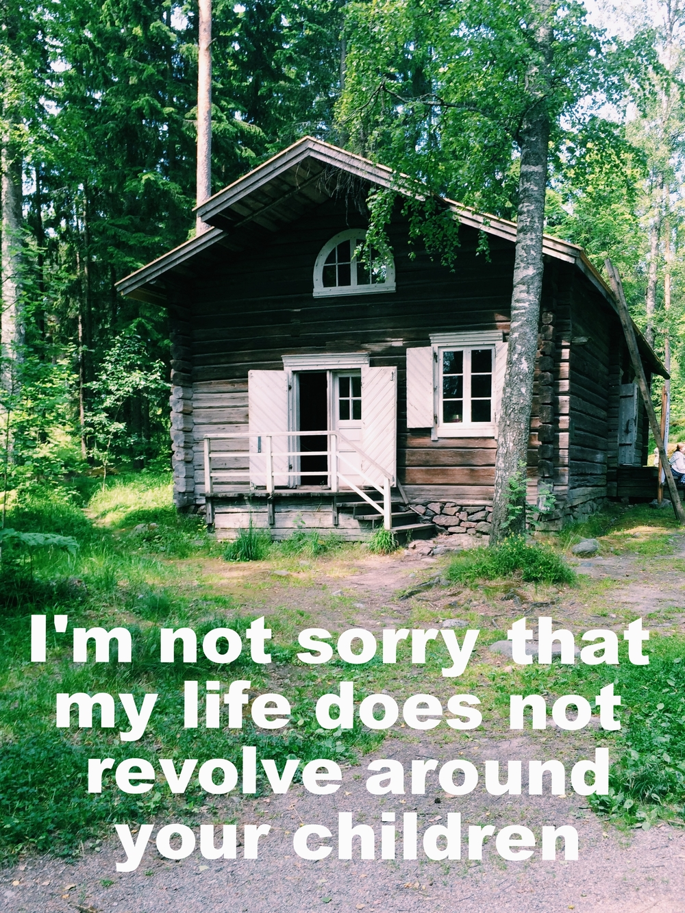 "Anonymous May 22 2016 Image of a log cabin-style house with white doors and one rectangular window and one semi-circle window. The house is among trees, and a ladder is leaning against the side.  ""I'm not sorry that my life does not revolve around your children"" is overlaid."
