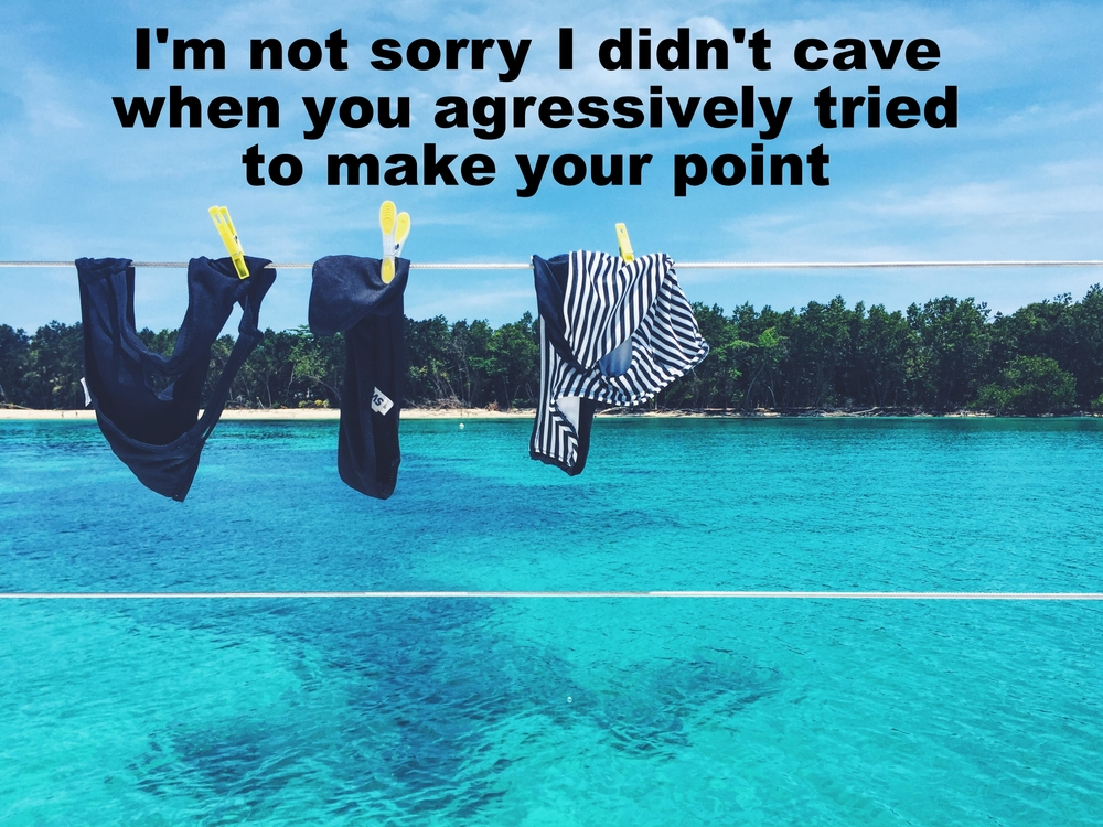 "Anonymous June 1 2016 Image of various bathing suits clipped to a clothesline with yellow clothespins. A beach bordered by trees is in the background; directly behind the bathing suits is an expanse of blue-green water. ""I'm not sorry I didn't cave when you aggressively tried to make your point"" is overlaid."