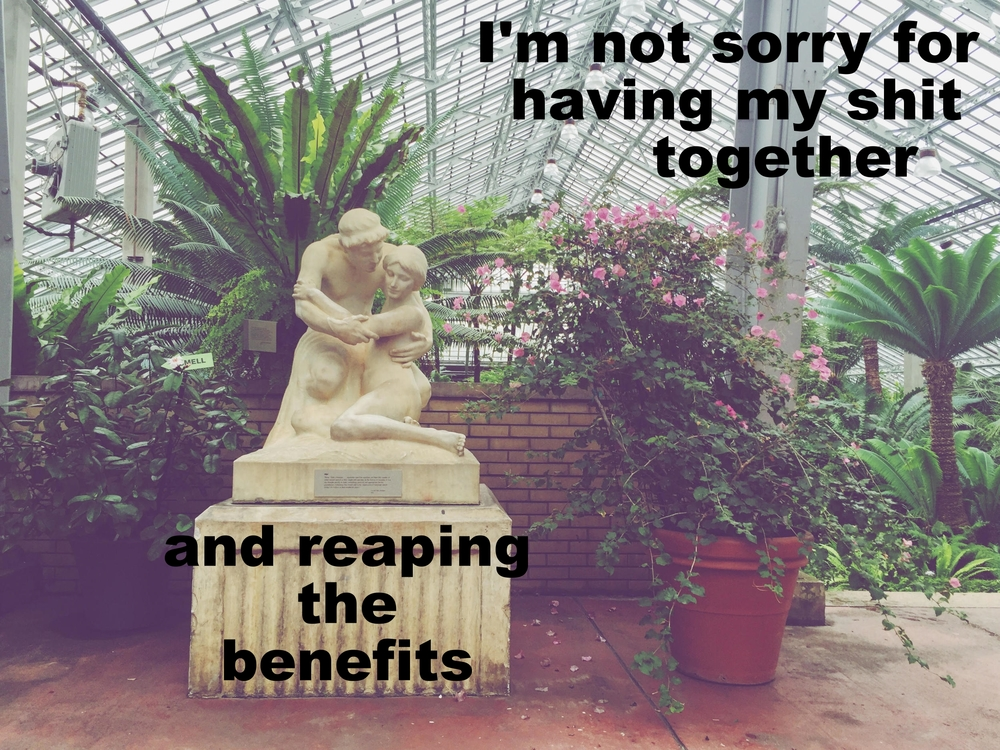 "Anonymous June 7 2016 Image of a white stone statue of two people embracing. Next to the statue sits a large pot with a viney, flowering plant growing out of it. Behind the pot and statue the tapered ceiling of a large greenhouse is visible, and tropical looking plants peek out. ""I'm not sorry for having my shit together and reaping the benefits"" is overlaid."