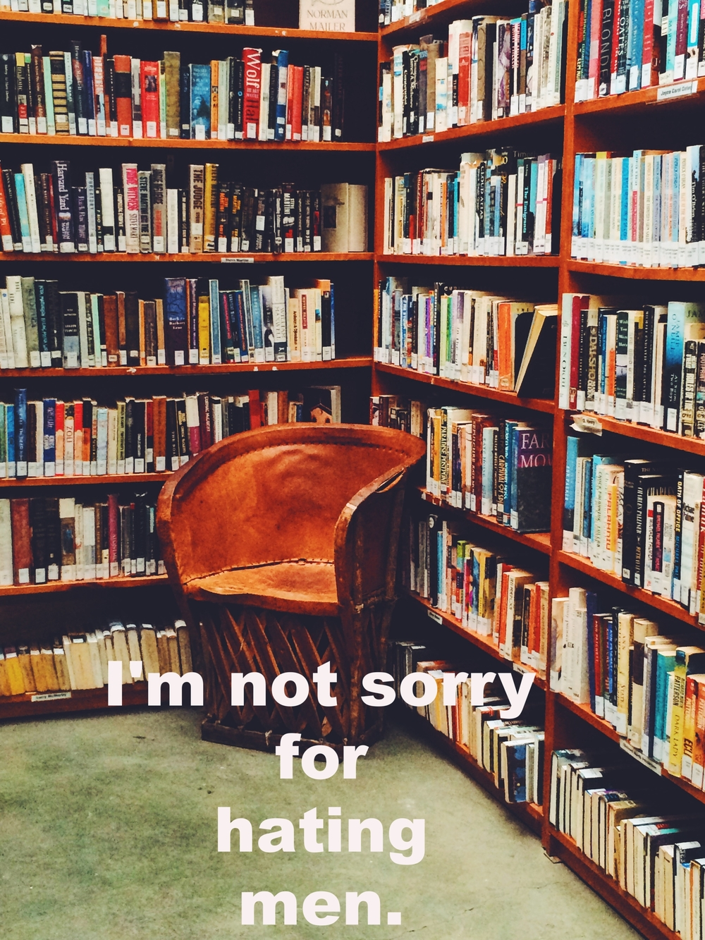 "Anonymous June 29 2016 Image of the corner of a library, where a rust-colored chair is nestled into the place where two shelves of books meet. ""I'm not sorry for hating men"" is overlaid."