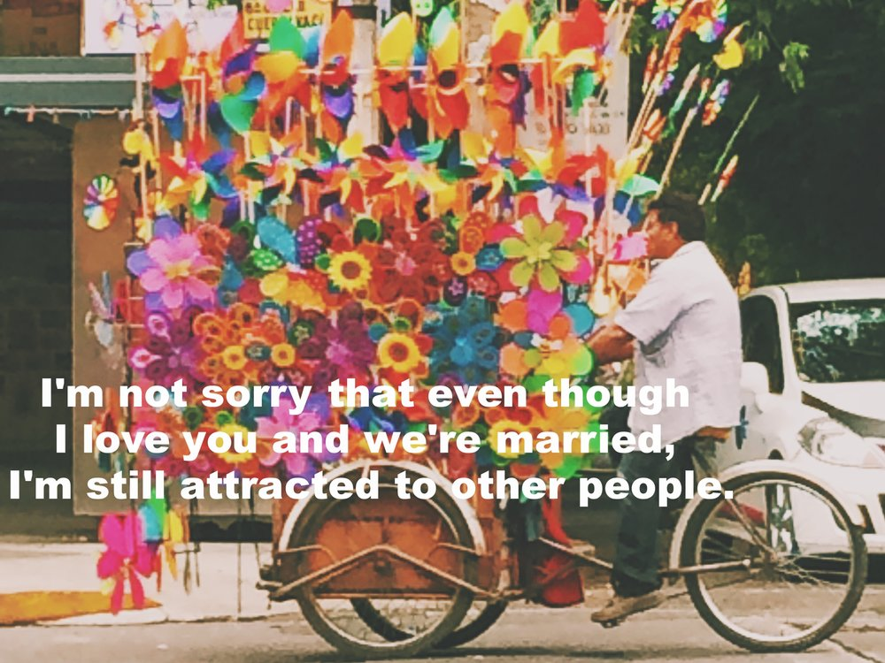 "Anonymous August 24 2016 Image of a man riding a three-wheeled bike cart overflowing with colorful pinwheels and plastic flowers. ""I'm not sorry that even though I love you and we're married, I'm still attracted to other people"" is overlaid."