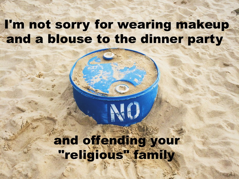 "26-year-old trans woman August 28 2016 Image of a blue plastic container in the sand with ""NO"" stencil spray-painted on it. There are footprints and other marks of humans and animals in the sand. ""I'm not sorry for wearing makeup and a blouse to the dinner party and offending your 'religious"" family' is overlaid."