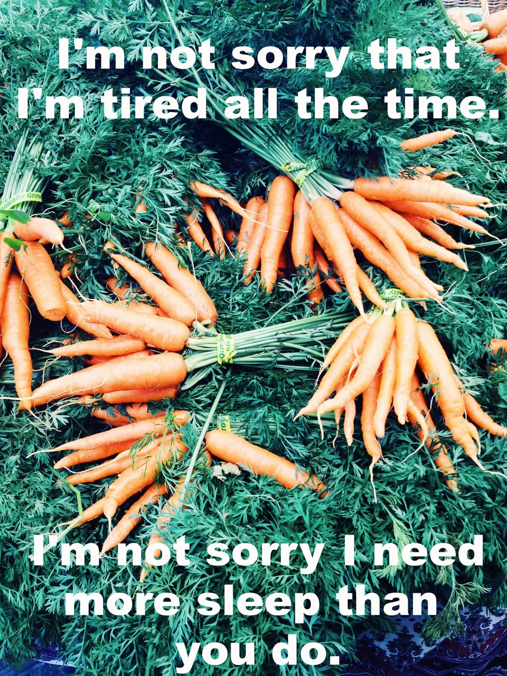 "Anonymous September 14 2016 Image of fresh carrots in bunches, layered on top of one another on a bed of the abundant carrot greens. ""I'm not sorry I'm tired all the time. I'm not sorry I need more sleep than you do"" is overlaid."