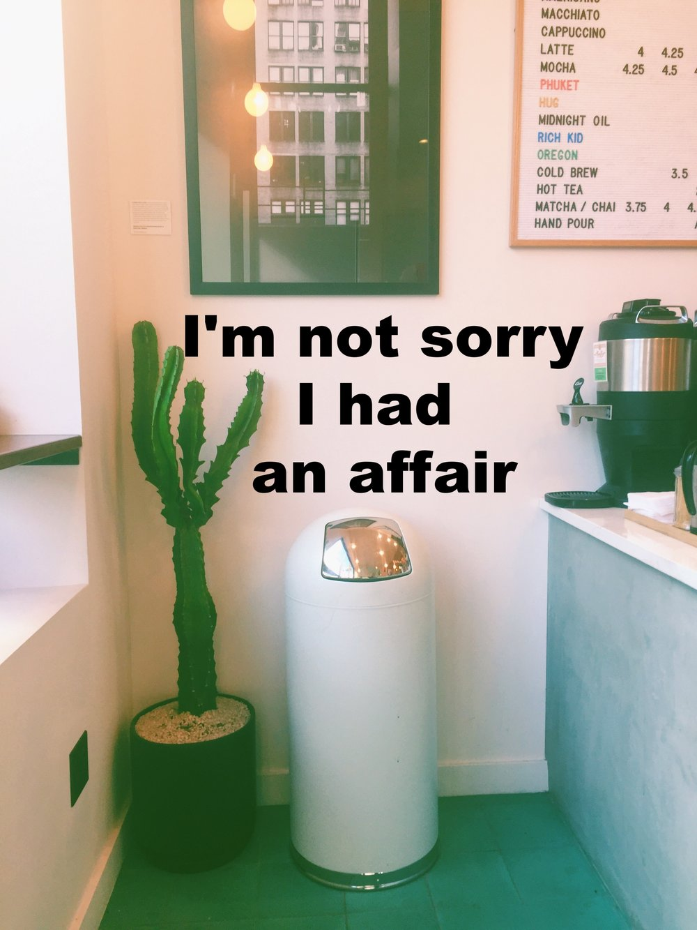 """Anonymous October 6 2016 Image of the corner of a small cafe, with a white metal trashcan and a large cactus plan. The tiles below are teal. """"I'm not sorry I had an affair"""" is overalid."""