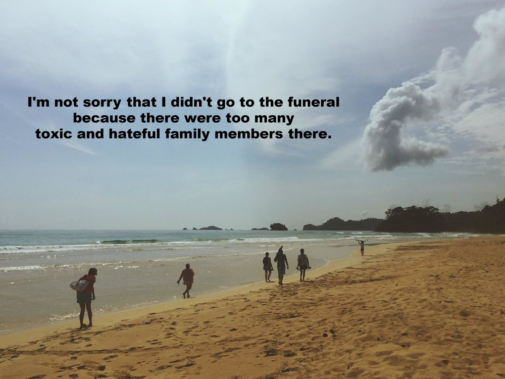 """Jes October 11 2016 Image of several people walking along the shoreline of an empty beach. """"I'm not sorry that I didn't go to the funeral because there were too many toxic and hateful family members there"""" is overlaid."""