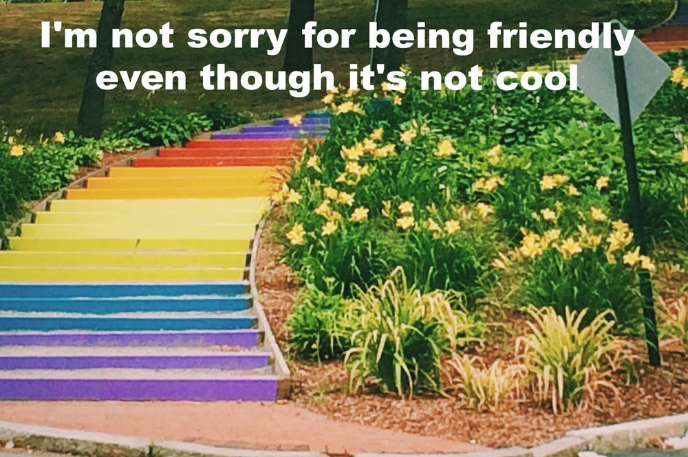 """Anonymous October 21 2016 Image of a set of rainbow stairs outside. To the right of the stairs is a garden of daffodils in bloom. """"I'm not sorry for being friendly even though it's not cool"""" is overlaid."""