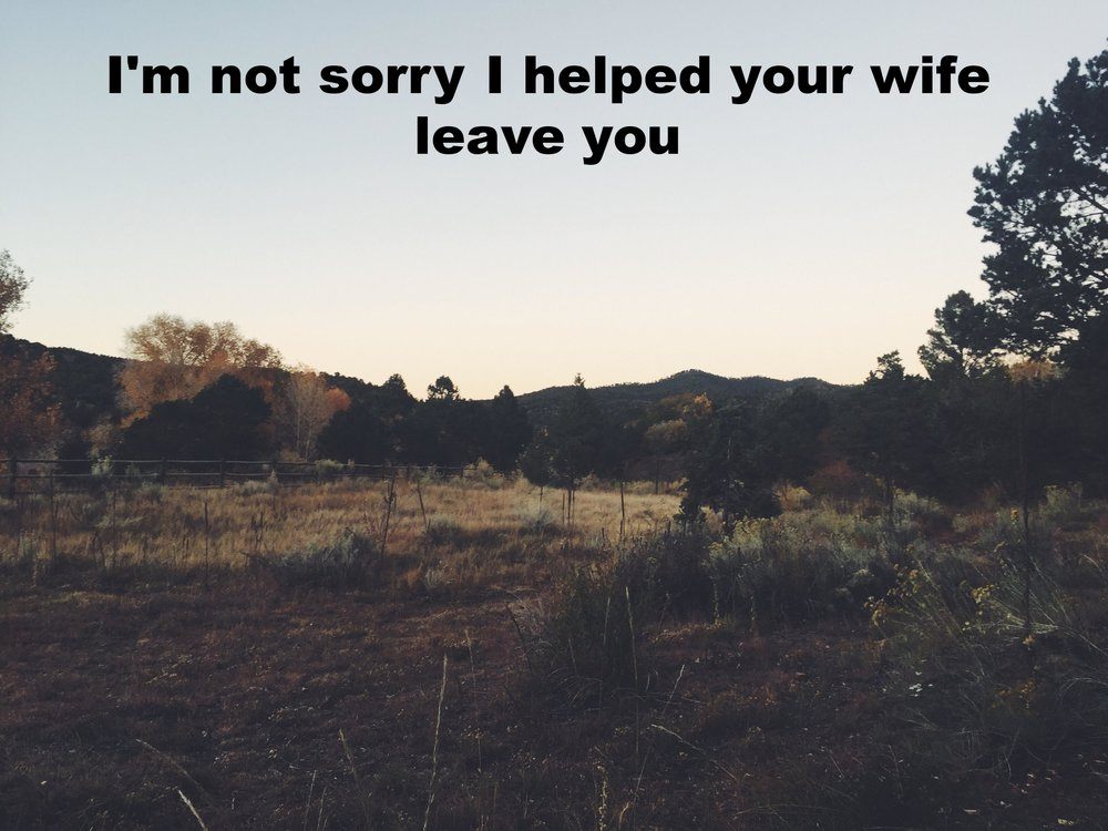 """Anonymous October 18 2016 Image of a field sparsely filled with tan grasses and other scrubby plants. The light suggests that it's dusk. """"I'm not sorry I helped your wife leave you"""" is overlaid."""