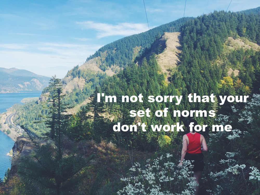 "Anonymous December 7 2016 Image of a person shot from behind, hiking along the edge of a mountain among white wildflowers. In the distance to the left of the frame is a wide, bright river. ""I'm not sorry that your set of norms don't work for me"" is overlaid."