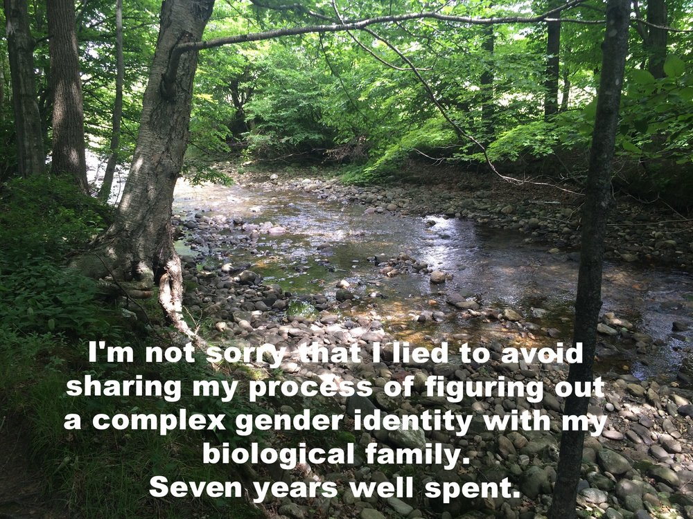 """Anonymous December 12 2016 Image of a shallow, narrow creek with trees and rocks on either side of it. Glints of sun reflect off the water. """"I'm not sorry that I lied to avoid sharing my process of figuring out a complex gender identity with my biological family. Seven years well spent"""" is overlaid."""