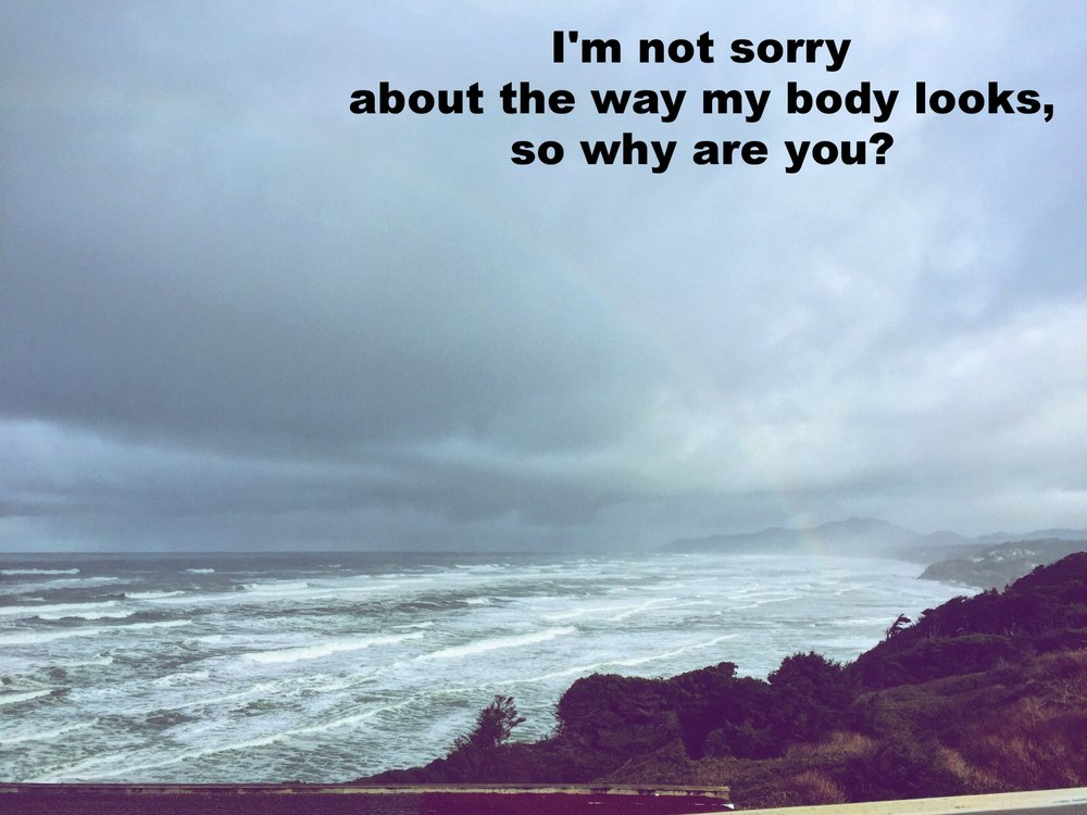 "Anonymous January 7 2017 Image of a coastline with many small waves breaking. The clouds overhead are stormy. A very faint rainbow touches down at the edge of the water. ""I'm not sorry about the way my body looks, so why are you?"" is overlaid."