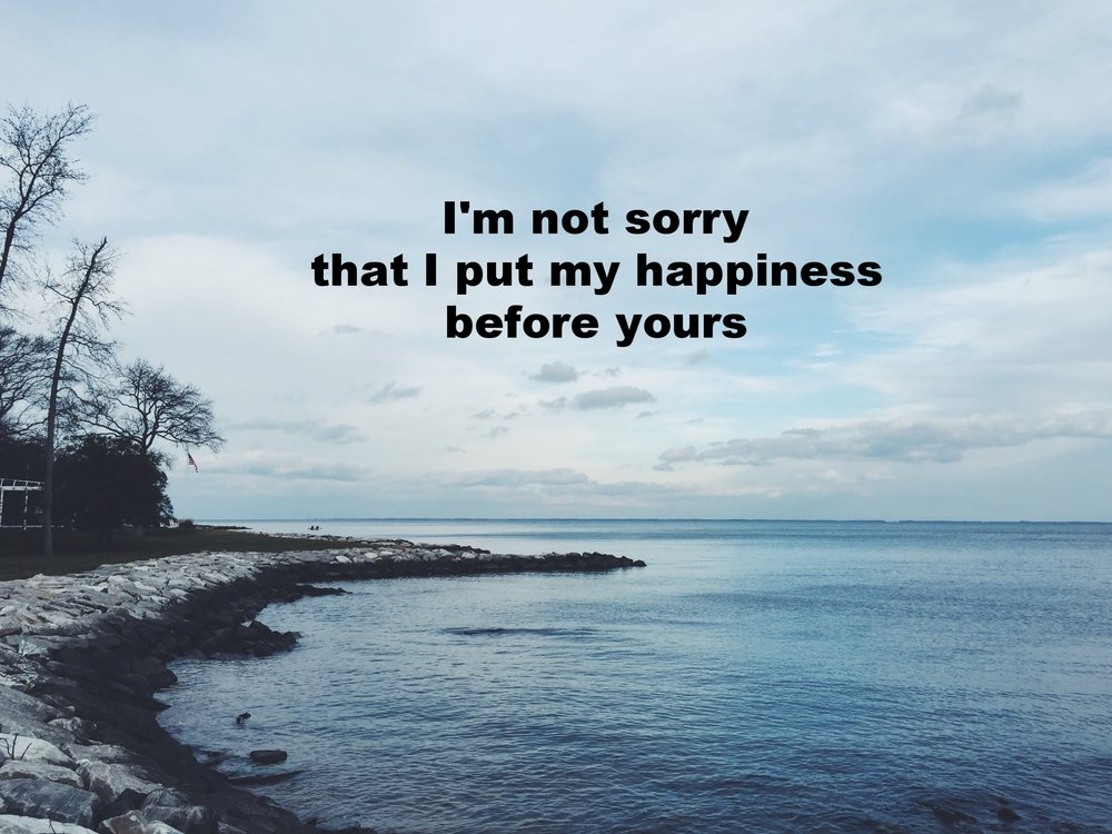 "Anonymous February 3 2017 Image of a stone wall along the edge of a body of water. ""I'm not sorry that I put my happiness before yours"" if overlaid."