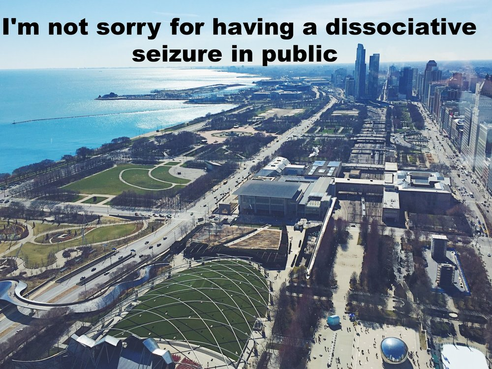 "Anonymous March 7 2017 Image shot from above of a sprawling city bordered by a shining, bright blue lake to the left of the frame. ""I'm not sorry for having a dissociative seizure in public"" is overlaid."