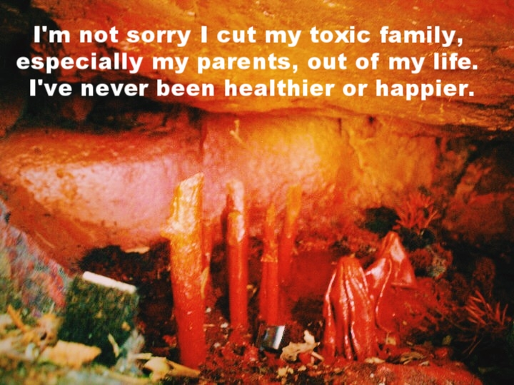 "Anonymous March 9 2017 Image of a cave painted in fiery, warm colors. In the cave are small art sculptures. ""I'm not sorry I cut my toxic family, especially my parents, out of my life. I've never been healthier or happier"" is overlaid."