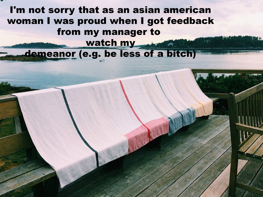 "Anonymous February 7 2017 Image of several large towels with single stripes down the middle (one black, one red, one blue, and one yellow) laid over the edge of a wooden balcony which overlooks a wide ocean bay. ""I'm not sorry that as an asian American woman I was proud when I got feedback from my manager to watch my demeanor (e.g. be less of a bitch)"" is overlaid. Photo by Laura Harrington"