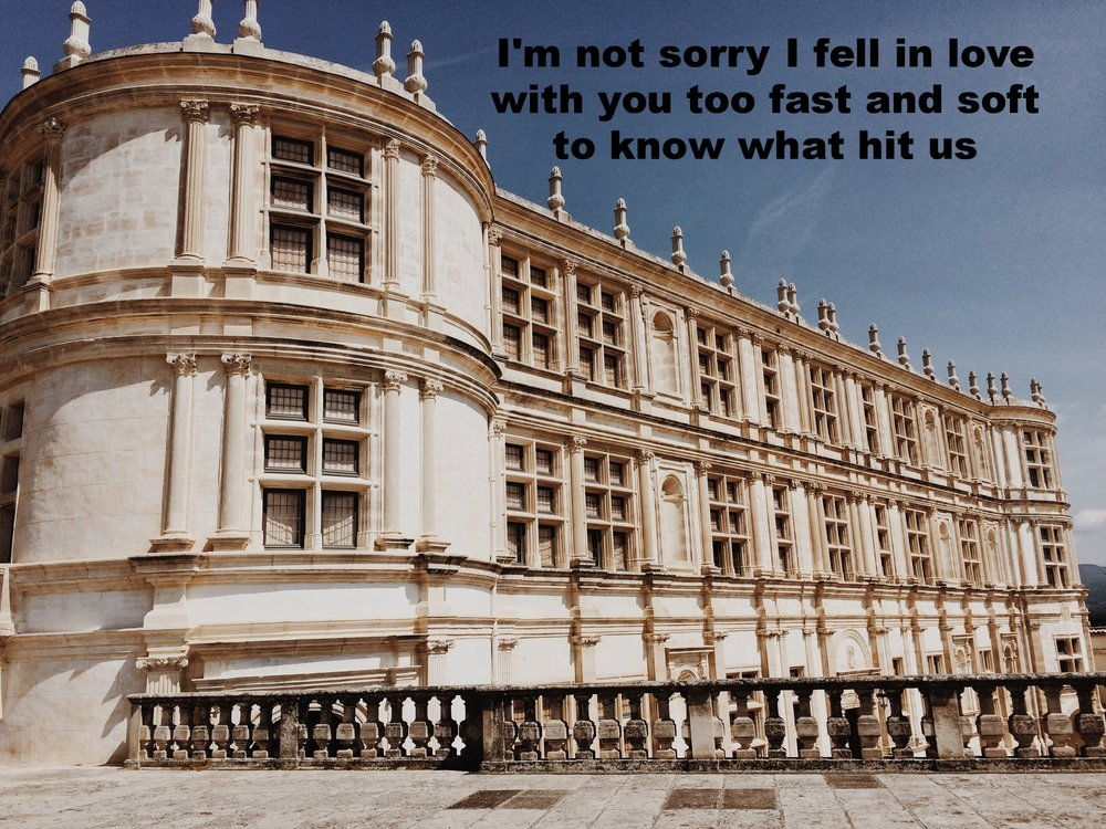 "Anonymous February 8 2017 Image of a large, ornate building made of white sandstone or marble, against a clear blue sky. ""I'm not sorry I fell in love with you too fast and soft to know what hit us"" is overlaid. Photo by Laura Harrington."