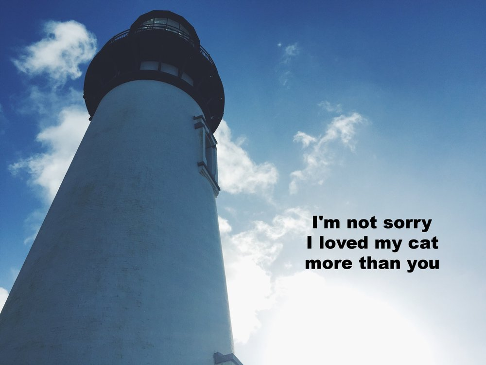 "Anonymous October 22 2016 Image of the steeple of a lighthouse, shot from below, shooting up into a bright blue sky. ""I'm not sorry I loved my cat more than you"" is overlaid."