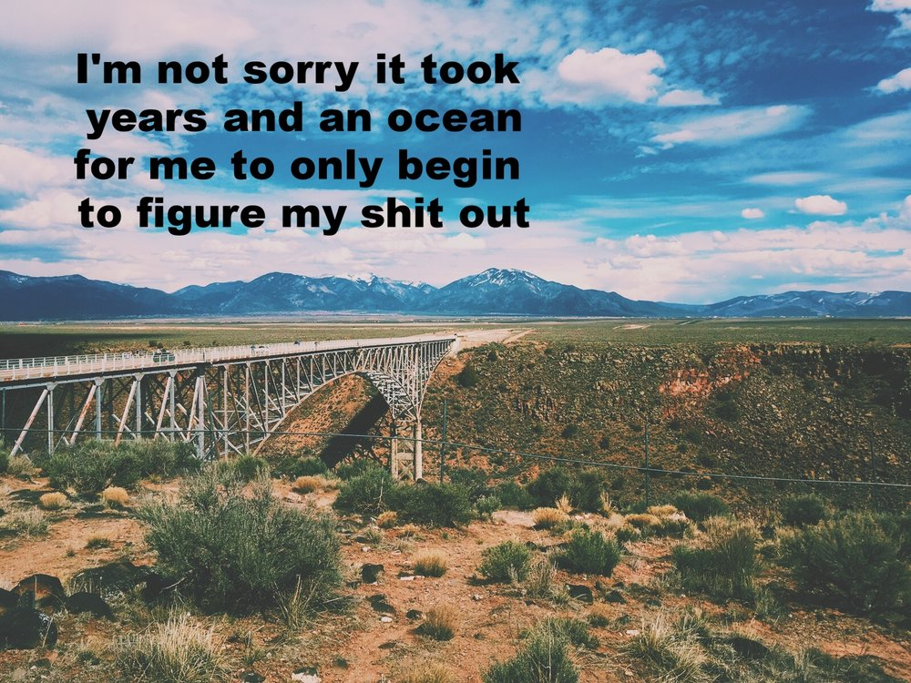 "Anonymous March 4 2017 Blue sky with white clouds reach behind mountains in the distance. A bridge stretches across a canyon. The land is covered in red dirt and desert plants. ""I'm not sorry that it took years and an ocean for me to even begin to figure my shit out"" is overlaid.  Photo by Nino Cipri"