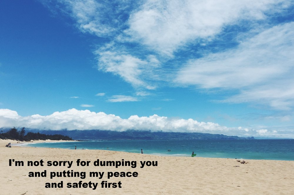 """Anonymous June 5 2017 Image of a tropical beach. The sand is pale tan, and the water and sky are bright blue. White fluffy clouds dot the horizon. """"I'm not sorry for dumping you and putting my peace and safety first"""" is overlaid."""