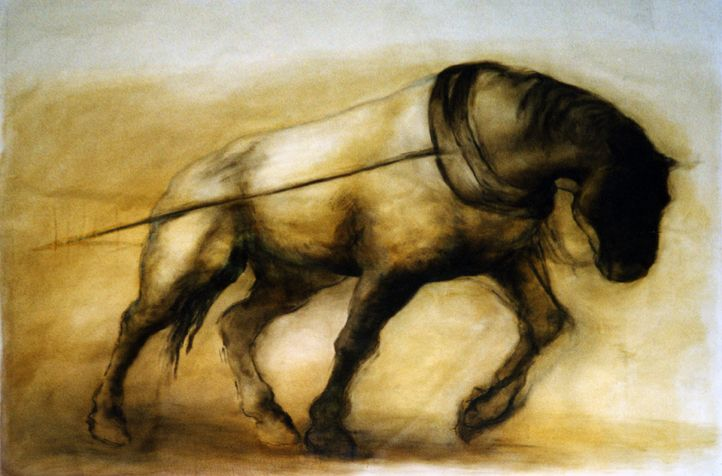 """Working Horse, Hauling . Kate Javens. I once lived nearly across the street from a library and a museum, and on the way back with my books, I would sometimes stop in to look at this painting. This past week I pulled a 150 pound lawn roller up and down the first 5 miles of the farm. Eventually it got too heavy, and so I saved the steepest section of the farm for the tractor … but not before, having strapped the roller to my old backpacking pack, my body remembered this painting.  I remembered the title and artist, and when I googled to see if there might be a copy online, I found one at the top of a collection of excerpts from Seneca. And so, an except from that excerpt:  """"You would come to know a ship's pilot in a storm and a soldier in the line of battle. How can I know with what strength of mind you would face poverty, if you abound in wealth? … disaster is the opportunity for true worth."""" Seneca, Essays, Volume 1."""