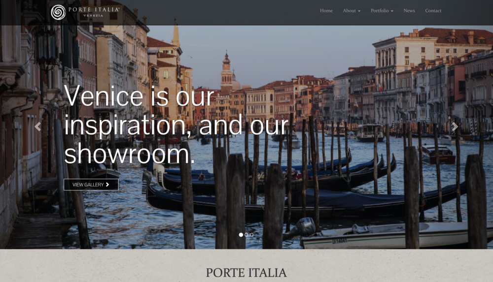 Award-winning website for our Italian furniture client, Porte Italia: porteiitalia.com